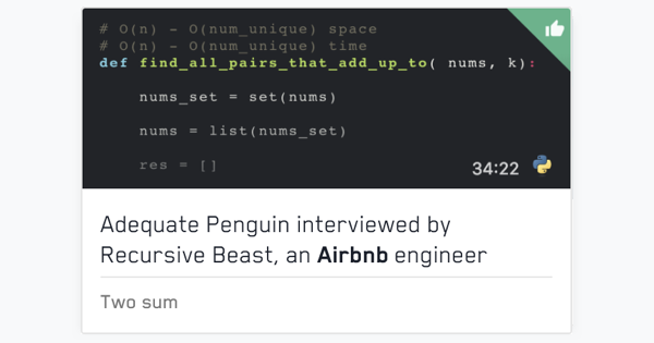 Recordings of mock interviews with Airbnb engineers | free